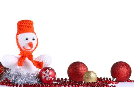 White snowman made from threads at the white background photo