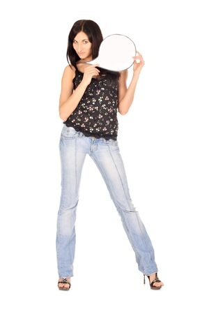 Young beautiful woman holds blank white card without text photo