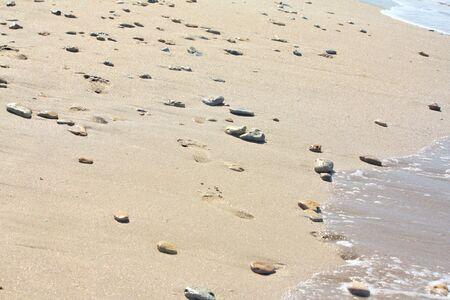 Orme sulla spiaggia vicino al mare