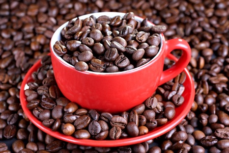 Cup on the saucer full of coffee beans photo