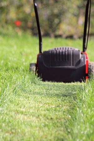 Falciatrice taglia un erba alta verde in giardino