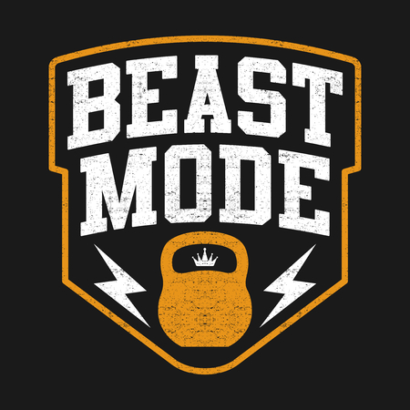 The Beast Mode Design, Illustration Sport Edition With Kettlebell