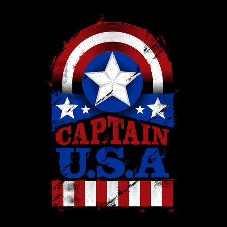 El capitán de EE. UU., Ilustración diseño American Patriot, para camiseta, póster, pancarta, pegatina