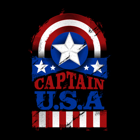 The Captain Of USA, Illustration American Patriot design, for t-shirt,poster, banner, sticker