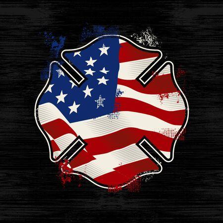 High Quality Design Vintage Vector Firefighter Badge US Flag Zdjęcie Seryjne - 148256492