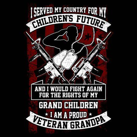 Vector Design, Veteran Themes - I Served My Country Veteran Grandpa Ilustração