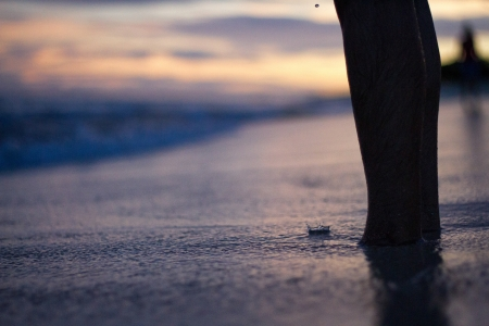 Sunset and foots on the beach Stock Photo - 18735111