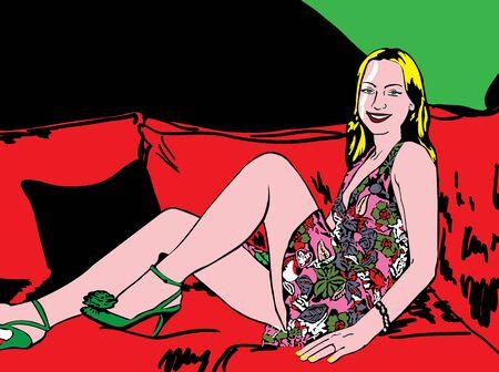 Pop up Illustration of blonde women illustration
