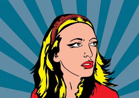 lichtenstein: Pop up Illustration of blonde women