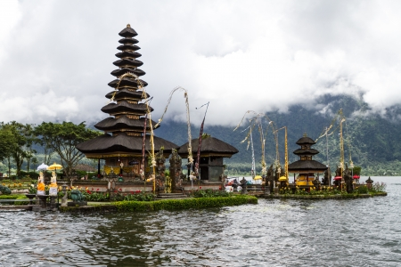 Pura Ulun Danu Bratan, a temple on the lake, Bali, Indonesia Stock Photo