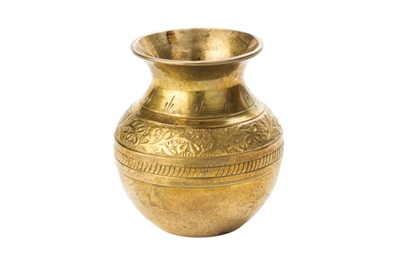 Bronze yellow vase with ornament on a white background photo