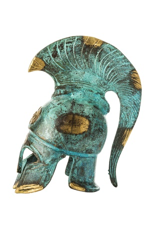 Souvenir ancient brass greek helmet with green over white photo