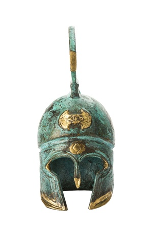 roman soldier: Souvenir ancient brass greek helmet with green over white