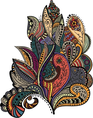 어두워: 균일 한 배경에 대해 세련된 빈티지 꽃 패턴