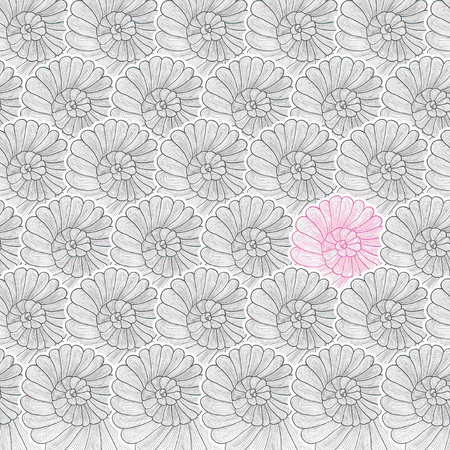 the cochlea: Vector background pattern of stylized snail