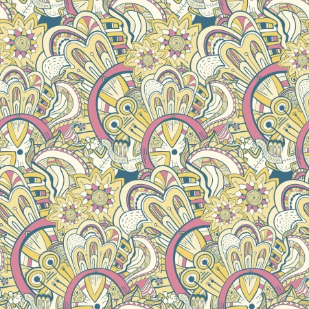 Seamless abstract hand-drawn pattern, background. Seamless pattern can be used for wallpaper, pattern fills, web page background,surface textures. Steampunk seamless floral background Vector