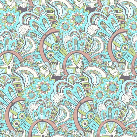 Seamless abstract hand-drawn pattern, background. Seamless pattern can be used for wallpaper, pattern fills, web page background,surface textures. Steampunk seamless floral background Stock Vector - 20631660