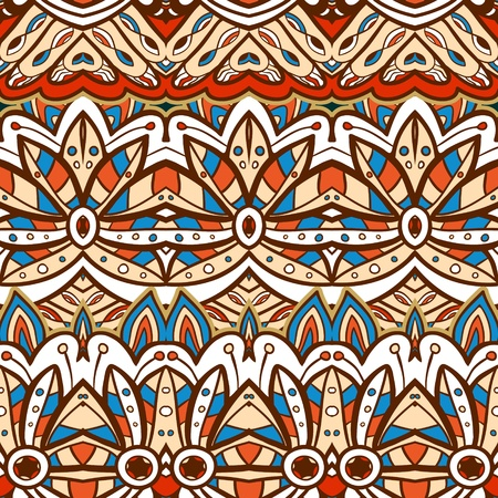 Seamless ethnic aztec illustration decorative background pattern in vector Vector