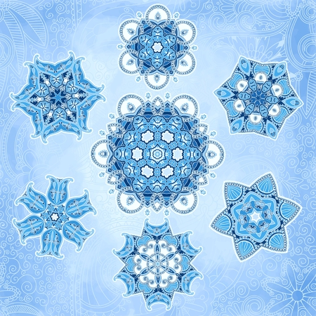Snowflakes vector set can be used for wallpaper, pattern fills, web page background, surface textures. Vector