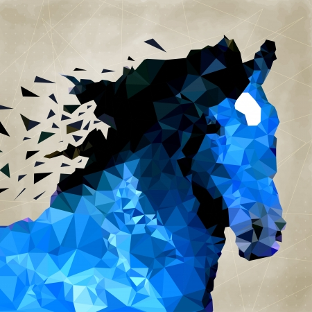 Vector triangle abstract horse of geometric shapes. Sign of the blue horse.
