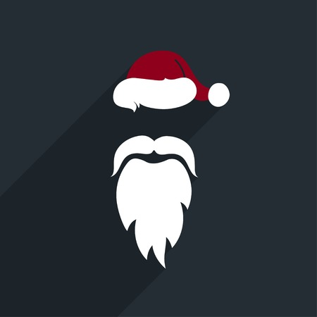 Flat Design Vector Santa Claus Face. Icon. Greeting Card. Vector