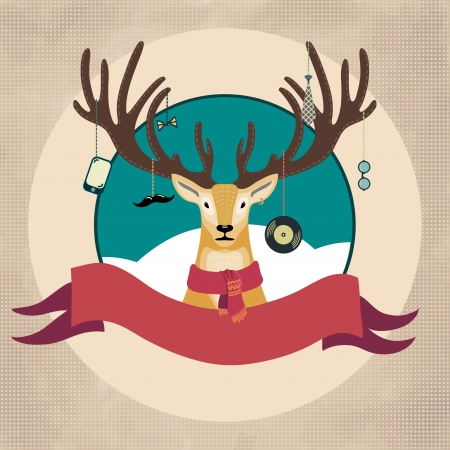 Hand Drawn Vector Illustration of Deer Hipster in scarf, Merry Christmas Card Vector