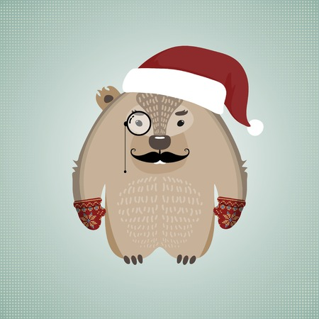 Illustration of a funny hipster wombat with moustache and monocle, wearing gloves and Santas hat, on blue background Vector
