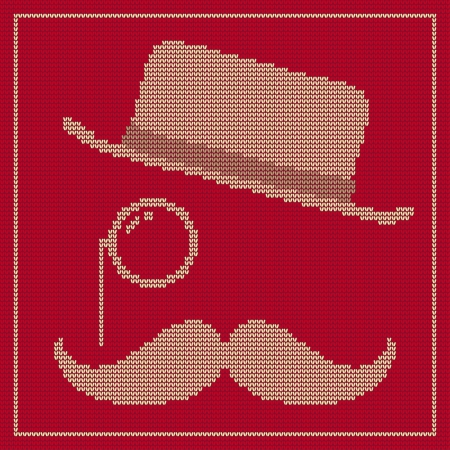 natty: Illustration of the symbols of the hipster trend: vintage hat, monocle and moustache, on red knitted texture Illustration