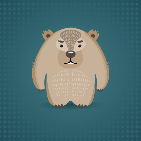 Illustration of a funny wombat on blue background. Can be used as greeting card. Vector