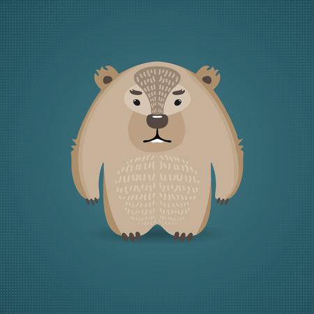 wombat: Ilustración de un wombat divertida en el fondo azul. Se puede utilizar como tarjeta de felicitación.