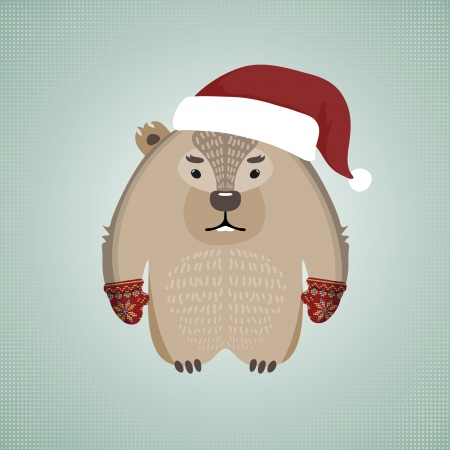 Illustration of a funny hipster wombat, wearing gloves and Santas hat, on blue background Vector