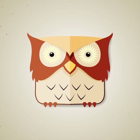 nocturnal: Vector illustration of a cute brown and light yellow cartoon owl icon isolated on a neutral light grey background Illustration