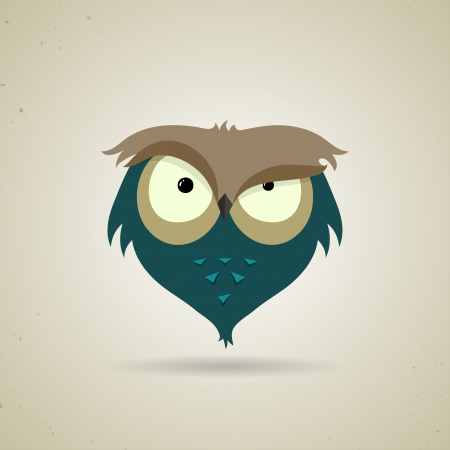 Vector illustration of a cute little blue and grey cartoon owl icon isolated on a neutral light grey background Vector