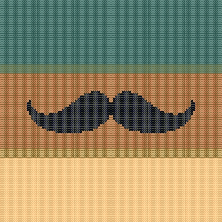 natty: Illustration of the symbol of the hipster trend: vintage moustache, on blue and yellow knitted texture