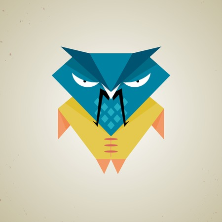 Vector illustration of a cute little blue and yellow cartoon samurai owl of the triangles icon isolated on a neutral light grey background Vector