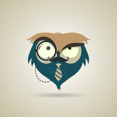 Vector illustration of a cute little blue and grey cartoon hipster owl icon isolated on a neutral light grey background Illustration