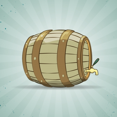 Illustration of an old wooden barrel filled with natural wine or beer, on blue background, in vintage style. Beer keg. Vector