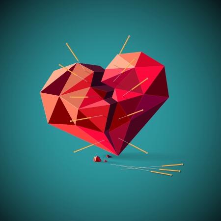 Ilustración conceptual de un corazón enfermo o roto con un patrón geométrico perforado con agujas de acupuntura insertadas que representan el antiguo método chino tradicional de curación alternativo