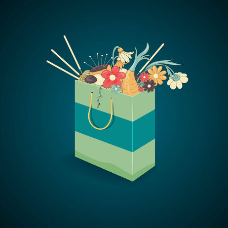 homeopathy: Paper bag filled with natural flowers and herbal medicinal plants with healing effects, symbol of alternative medicine and homeopathy, on dark blue background. Alternative medicine. Illustration
