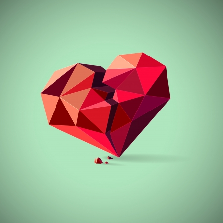 Conceptual illustration of an unhealthy or broken heart with pieces consisting of triangles Vector