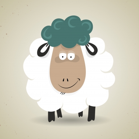 Illustration of cartoon smiling sheep standing facing the camera, icon design. Greeting card or background