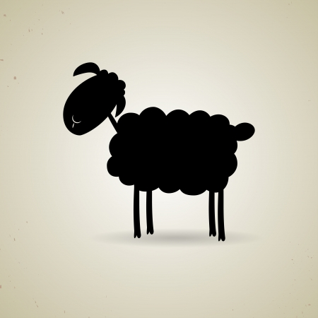 Illustration of cartoon silhouette of the sheep standing sideways the camera, icon design. Greeting card or background Vector