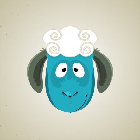 facing: Head of the cartoon smiling sheep standing facing the camera, icon design. Greeting card or background Illustration