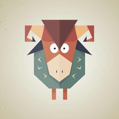 Illustration of a cute origami sheep made from folded paper in the Japanese tradition standing facing the camera, geometric pattern and design Vector