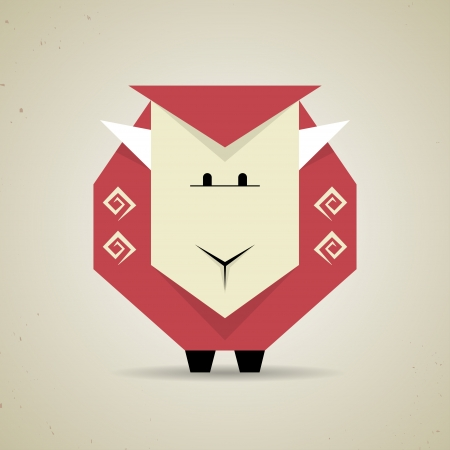Illustration of a cute origami sheep made from folded paper in the Japanese tradition standing facing the camera, geometric pattern and design Ilustração