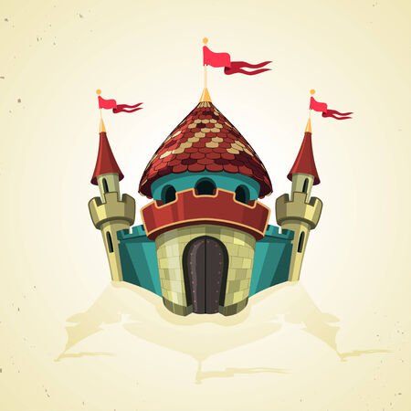 ramparts: Cartoon illustration of a fairytale fortified castle with flags and turrets over the crenellated ramparts of the walls arranged symmetrically around the arched entrance. Icon Illustration