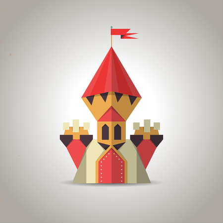 Illustration of a cute origami castle icon made from folded paper in the Japanese tradition, geometric pattern and design Vector