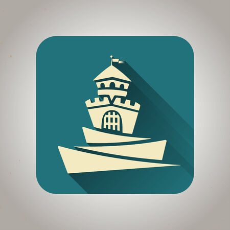 Blue and light yellow flat castle icon with shadow for web and mobile applications Vector