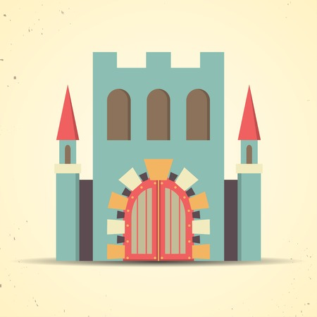 Color flat icon with castle with shadow for web and mobile applications Vector