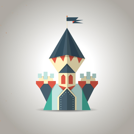 Illustration of a cute origami castle icon made from folded paper in the Japanese tradition